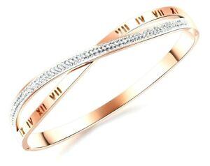 Silver Crystal Rhinestone Bracelet Rose Gold Diamante Bangle Bridal Gift Prom UK