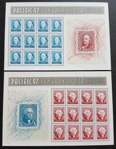 USA 1997 Pacific 97 San Francisco Stamp Exhibition Franklin & Washington 2 panes
