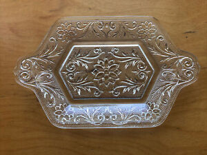 """Vtg Clear Glass Vanity Tray Pressed Glass Floral Pattern Perfume Cosmetics 9"""""""