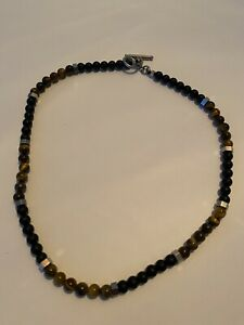 """Men/ Women 6mm Tiger Eye Stone and Lava Stone Bead Stainless Steel Necklace 18"""""""