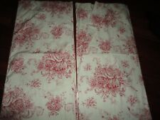 MELANGE HOME COUNTRY TOILE RED & OFF WHITE (PAIR) LINED DRAPERY PANELS 40 X 82