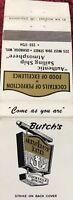 Matchbook Cover Butch's Anchor Inn Oshkosh WI
