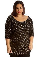 Womens Top Ladies Plus Size Polka Dot Foil Glitter Shirt Smock Tunic Nouvelle Size 20 Gold