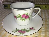 ASIAN WHITE China TEA CUP & SAUCER RED ROSES Green LEAVES GOLD TRIM Porcelain