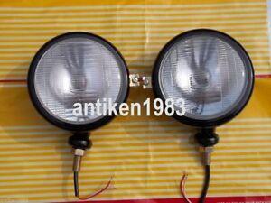 "Ford Tractor Head Light Set (LH + Rh) - 12 V Black 5 3/4 "" With Bulbs"