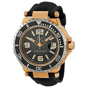 Guess Collection GC Men's GC-3 Aquasport Blackand Rose Gold Mens 44mm Watch