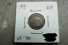 1919 Canada silver ten 10 cents - VF-30