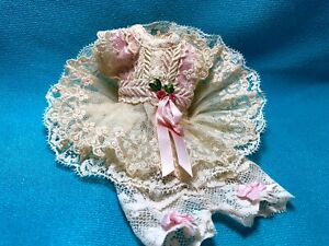 """Vtg 2 ps ivory embroidery cotton French lace dress set for mignonette doll 7.5"""""""