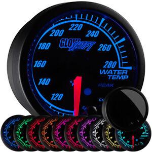 52mm Black Elite 10 Color GlowShift Water Temp Gauge w. Adjustable Warnings