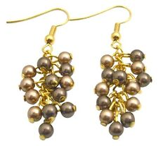 Swarovski Bronze & Brown Pearls Wedding Earrings 22k Gold Plated Hook