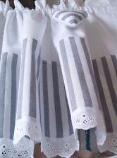 Vorhang Scheibengardine Bistrogardine Landhaus Shabby Leinen Weiß Grau Streifen