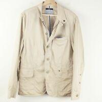 7 For All Mankind Beige Brown Herringbone Jacket Selvedge Trim Lining Mens Sz M
