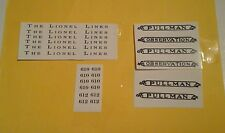 EARLY LIONEL 610-610-612 BLACK WATERSLIDE DECALS  PASS. w/SERIF SET LOOK!