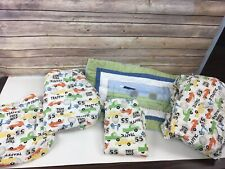Pottery Barn Kids Sheet Set Traffic Vehicles 5 Pc Full Flat Fitted Pillowcase