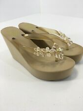 BCBG Generation Womens Crystal Flower Wedge Sandals Tan/gold Size 38 NEW=
