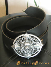 Leather Belt with Lion Head Engraved Buckle LARP Medieval
