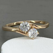 Finish Forever Us Two Stone Engagement Ring 1.00 Ct Diamond Real 9k Yellow Gold
