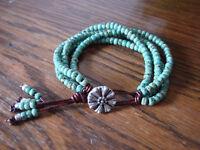 Turquoise Picasso Handmade 4 Strand Beaded Leather Wrap Bracelet