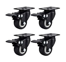 "Set of 4 Swivel Plate Casters 1.5"" Polyurethane Wheels Total Lock Brake BLACK"