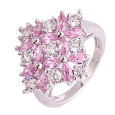 Beautiful Pink & White Topaz Fashion Jewelry Women Gift Silver Ring Size 10