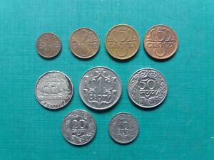 POLAND COINS 1,2,5,10,20,50 GR, 1Zl 1929. WITH SILVER 2 ZL 1936 SHIP.