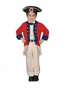 American Patriot Costume Child's Deluxe 4 Pc Rd/Bl/Tan Pants Coat Collar & Hat