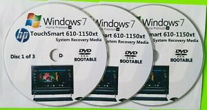 HP TouchSmart 610-1150xt Factory Recovery Media 3-Discs / Windows 7 Home 64-bit