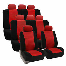3D Airmesh Design 3 Row Red Black 8Seater Van Auto Truck Seat Covers Full Set