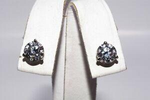 $7,150 2.07CT NATURAL ROUND CUT & MARTINI SET DIAMOND STUD EARRINGS 14K GOLD