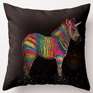 UK Super Soft Cotton Velvet Brown Colorful Unicorn Pillow Cushion Cover RC47