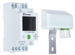 Twilight Dependent Relay with Digital Timer + Sensor Switch DIN Rail SPDT Finder