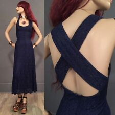 RARE Vintage 90s Goth Witch Garden Dress Lace Midnight Blue Long Maxi 5/6 M