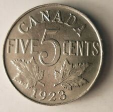 1923 CANADA 5 CENTS - HIGH GRADE - KEY DATE Scarce Coin - Lot #A7
