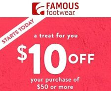 Famous Footwear $10 OFF $50 C0UPON CODE PROMO DISCOUNT EMAILED FAST EXP 12/31/18