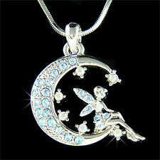 Blue Fairy w Swarovski Crystal ~Tinkerbell~ Tinker Bell ANGEL Wing MOON Necklace