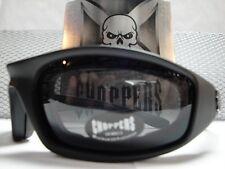 MOTORCYCLE BIKER SPORT RIDING PADDED Choppers GLASSES GOGGLES Dark Black Lens