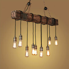 Country Style Shabby Wooden Long Bar with 10 Bare Bulbs Cable Pendant Lights Art