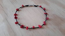 Stone Anklet Handmade Red Coral