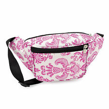 Ladies Girls Womens Pink and White Floral Patterned Retro Bum Bag