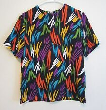 80s Inspired Black Rainbow Geometric Paint Palette Short Slve Blouse Shirt 10 M