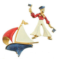 "Vintage French Gold Tone Red Wht Blue Enamel Sailor Sail Boat Lg Pin Set 2/2.25"""