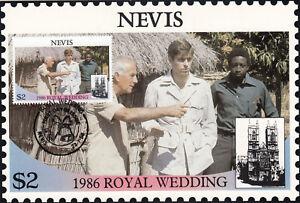 (13542) Nevis Maxicard Postcard Prince Andrew Fergie Royal Wedding 1986