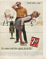1963 Original 7-UP Bowling Need Alley-Oop? Soda Soft Drink Beverage Print Ad
