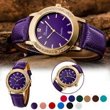 Unique Women And Men Casual Simple Business Leather Quartz Analog Wrist Watch x1