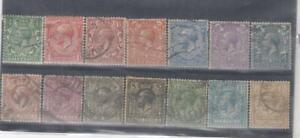GREAT BRITAIN (MM46) # 159-172 VF-USED VARp 1912-13 KING GEORGE V STAMPS  CV $88