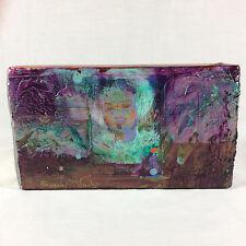 Mixed Media Block Painting Abstract ORIGINAL By Beverly McLarty vivid beautiful