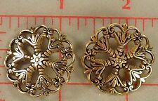 5 Beautiful Metal Filigree Buttons Little Star Center Antq Gold Color XL 28mm