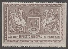 Spain Madrid Municipal Impuesto Revenue MNH 5p Forbin #206 blue Monogram 1907