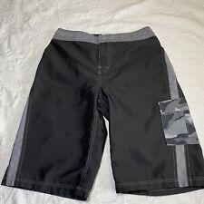 The North Face Boys Board Shorts Black/gray Camo Pocket Swim Surf Size 14