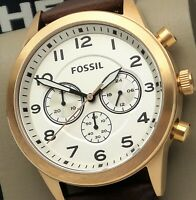 FOSSIL FLYNN PILOT BQ2374 Chronograph Watch Men's Brown Leather Strap $155 NEW
